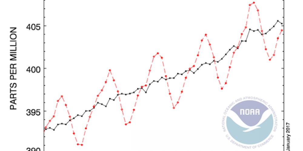 Atmosferdeki karbondioksit yoğunluğu Nisan'da 409,01 ppm oldu